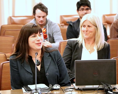Cultural Services Director Gabriella Calicchio (left) and Agricultural Institute of Marin's Brigitte Moran (right) speak before the Board of Supervisors.