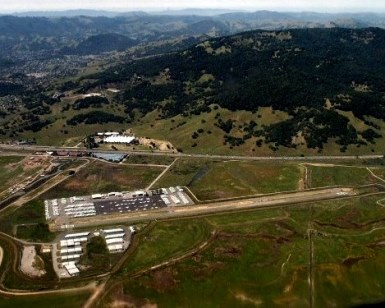 An aerial view of Gnoss Field in Novato