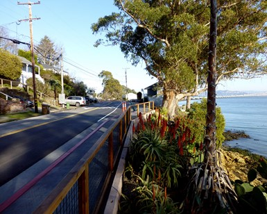 A view of the new sidewalk along Main Street in San Quentin Village, with homes and the road on the left and the bay on the right.