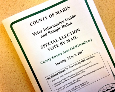 A copy of the voter information guide for the May 2, 2017, special election in Greenbrae.