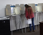 A woman fills out her ballot at a voting booth on election day.