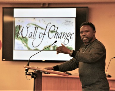 Former probationer Alfred Carr talks during last year's Wall of Change event about turning his life around.