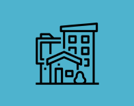 icon of different housing types (house, apartment)